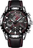Mens Watches Fashion Sport Quartz Wrist Watches Full Steel Business Waterproof Date Window in Red Hands