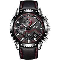 Mens Watches Fashion Sport Quartz Wrist Watches Full Steel Business Waterproof Date Window in Red Hands