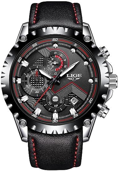 Relojes para Hombres, LIGE cronógrafo Militar cronógrafo Resistente al Agua para Hombre, Calendario de Fechas Diseño único Fresco para Negocios cronógrafo ...