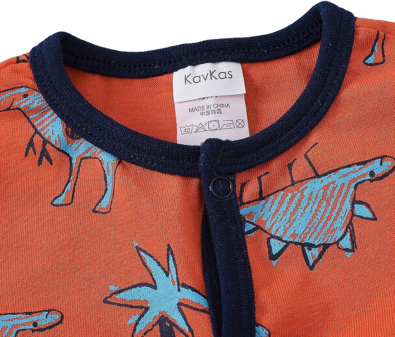 0-12 Mesi 100/% Cotone kavkas Confezione da 3 Pezzi Motivo: Dinosauro Pagliaccetto Pigiama per Neonato