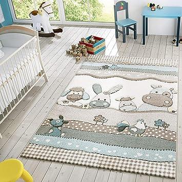 Kinder Teppich Moderner Spielteppich Bauernhof Tiere Pastell Töne In Beige  Creme, Größe:120x170 cm