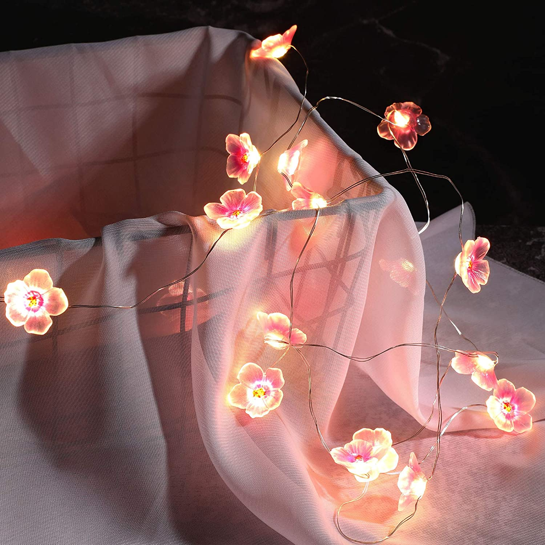 6.6 ft 20 LEDs Flower String Lights Fairy Cherry Blossom String Lights Wire Battery Powered String Lights for Valentine's Day Wedding Nursery Girls Bedroom Decoration (Pink)