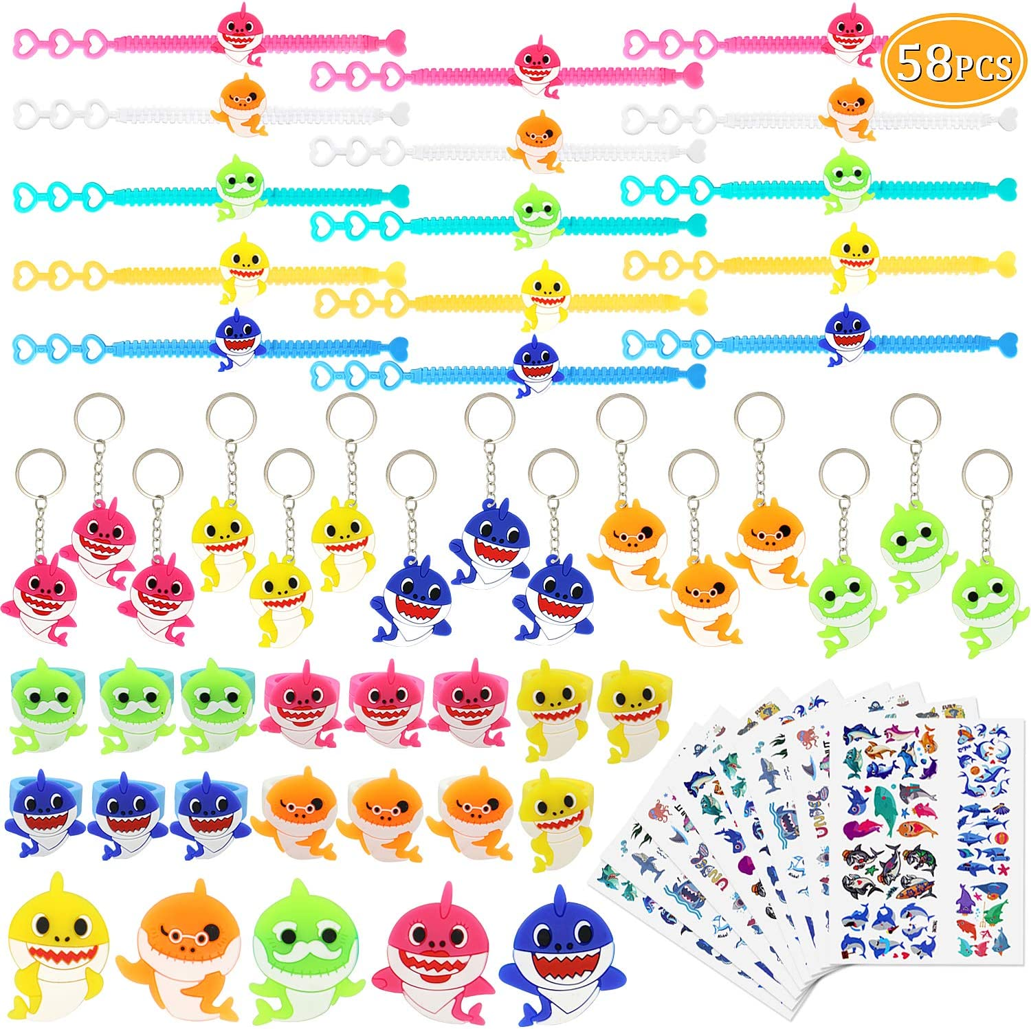 58PCs Cute Shark Party Favors Shark Bracelets Rings Keychains Tattoos Brooch Toys Prizes Gift Carnivals for Kids Girls Boys Birthday Party Favor Supplies Pinata Fillers Goodie Bag Fillers