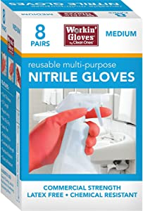 """Clean Ones 8-PAIRS Workin' Gloves 12"""" Reusuable Multi-Purpose Nitrile Gloves, 15 Mil Thick Commercial Strength, Latex Free, Chemical Resistant, Non-Slip Grip"""