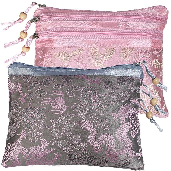 Amazon.com: kilofly - Juego de 2 bolsas de joyería de seda ...