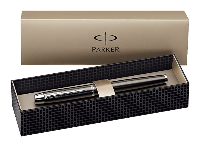 Parker S0856410 IM-Tintenroller (Metallisch-Grau mit Chromeinfassung, Strichstärke Mittel)