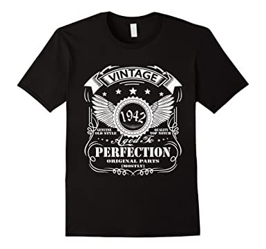 Mens 75 Birthday Vintage Made In 1942 Gift Ideas Man T Shirt 2XL Black