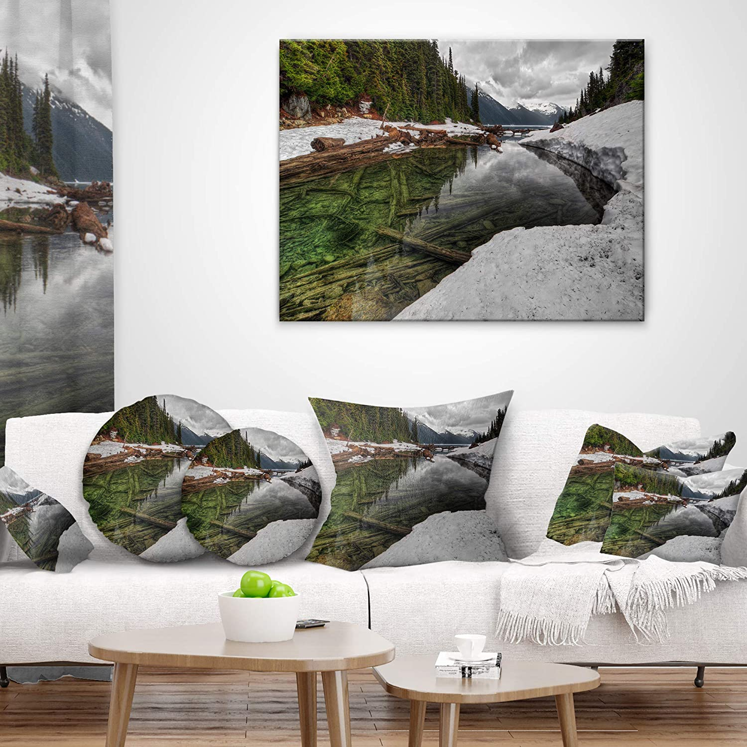 Designart Cu14409 12 20 Crystal Clear Lake With Pine Trees Landscape Printed Lumbar Cushion Cover For