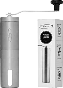 Zolay® Manual Coffee Grinder, Brushed Stainless Steel, Conical Burr Mill