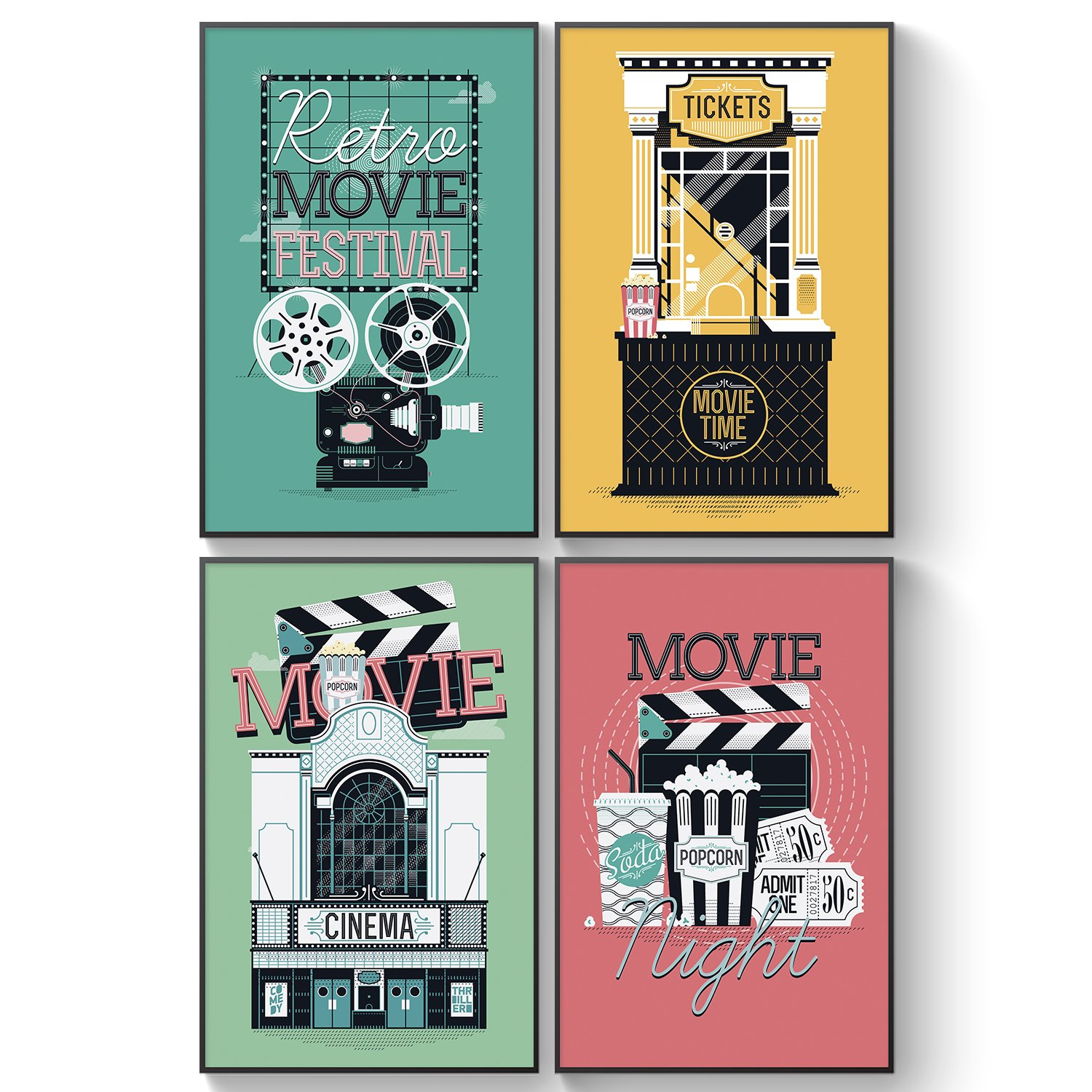 Pillow & Toast Limited Edition: New Classic Movie Poster, Set of Four 11x17, Movie Theater Wall Decor, Home Theaters Wall Art Prints, Classic Movie Poster Ready to Place On Wall.