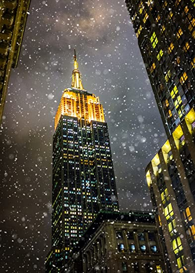 new york christmas holiday card empire state snow boxed 12 pack of 5x7 cards envelopes - New York Christmas