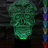 ALUONI 3D Illusion Lamp, Stunning Visual Three-Dimensional Light Effect [USB Powered,Touch Switch,7 Colors Change] Creative Design Night Light (3D Flower Skull)