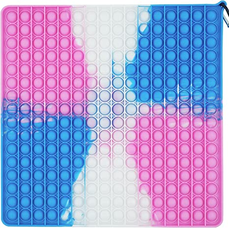 256 Bubbles Big Pop Fidget Toy Game, Silicone Big Size Push Pop Sensory Toy Tie-dye, Square Anxiety Squeeze Stress Reliever Toys for Kids and Adults (Pink)