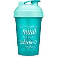 Motivational Quotes on Performa Perfect Shaker Bottle, 20oz Classic Protein Shaker Bottle, Advanced Actionrod Mixing Technology, Dishwasher Safe, Leak Proof (Achieve - Teal/Mint - 20oz)