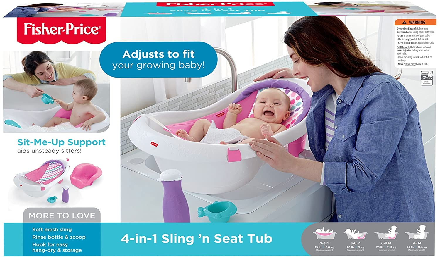 1b8567e8e08 Amazon.com   Fisher-Price 4-in-1 Sling  n Seat Tub   Baby