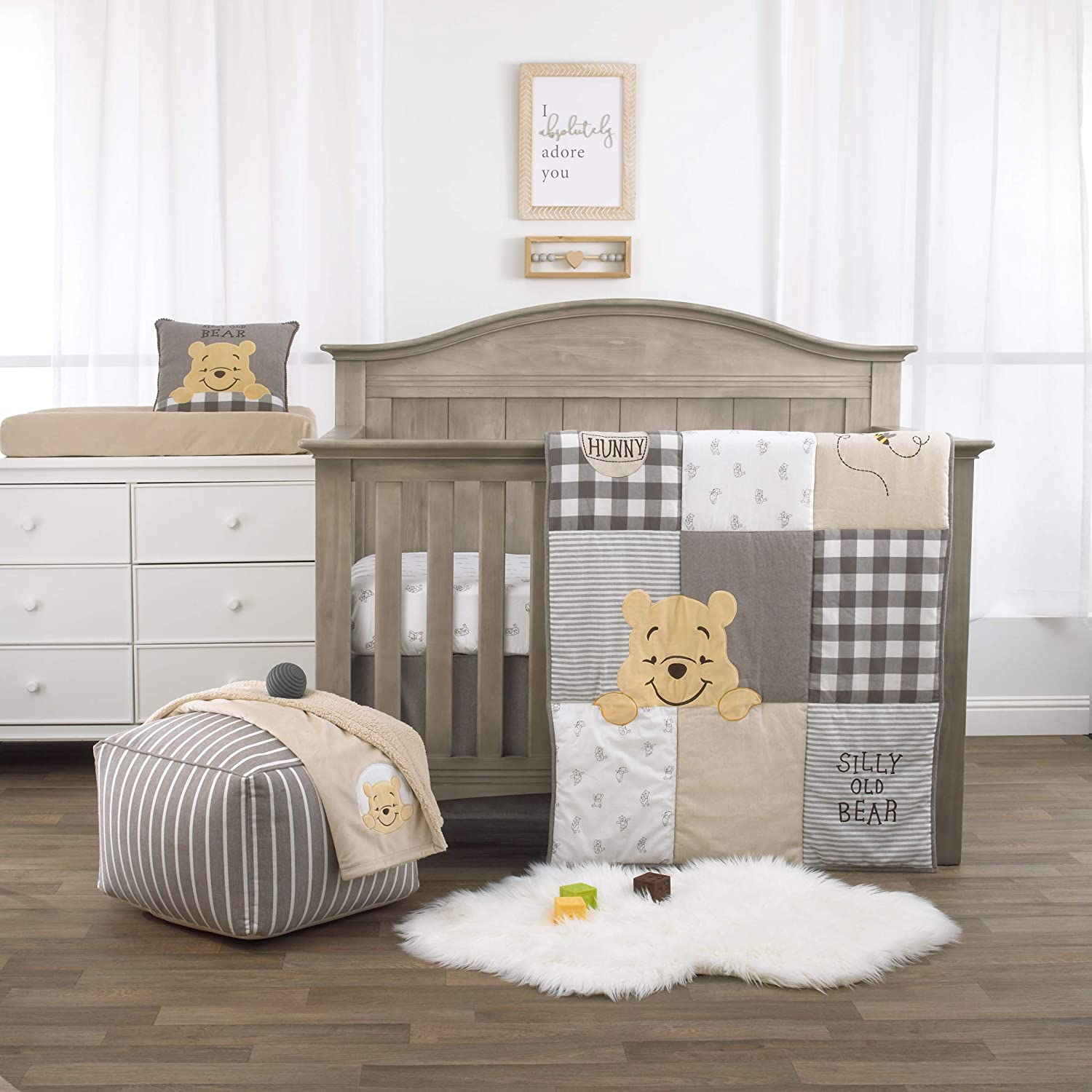 Disney Winnie The Pooh Hunny & Me - Grey, Marigold, White & Charcoal 3Piece Nursery Crib Bedding Set with Comforter, Fitted Crib Sheet & Dust Ruffle, Grey, White, Marigold, Charcoal
