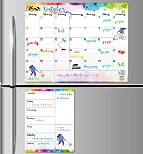 "Magnetic Dry Erase Fridge Calendar - White Board Magnetic Calendar for Refrigerator Wall Home Kitchen Decor, 15""x 11.5"", Grocery List Magnet Pad for Fridge"