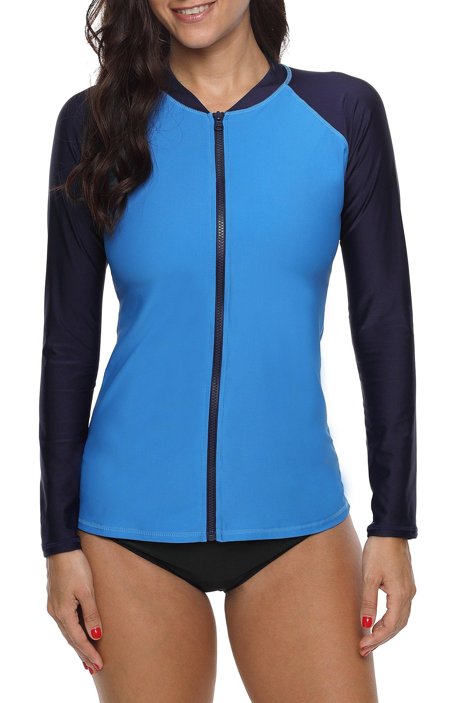 ATTRACO Womens Rashguard Shirt Long Raglan Sleeve Zip Front Surf Shirt Royal Large by ATTRACO