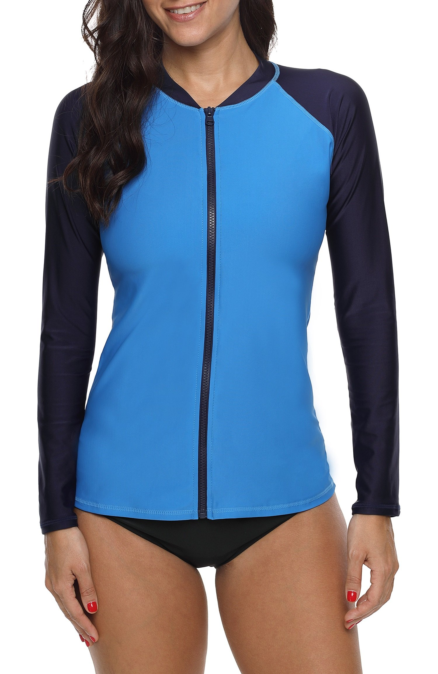 ATTRACO Womens Rash Guard Top Zip Long Raglan Sleeve Swim Shirt Royal Medium