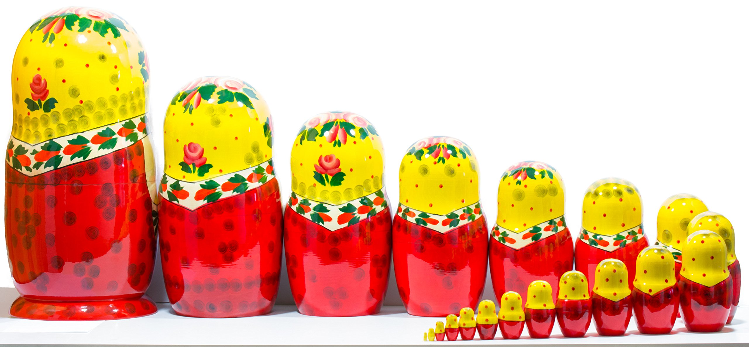 Russian Nesting Doll -Semenovo - Hand Painted in Russia - 6 Color|Size Variations - Wooden Decoration Gift Doll - Traditional Matryoshka Babushka (14``(20 Dolls in 1), Yellow - Red) by craftsfromrussia (Image #3)