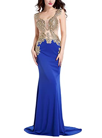 Mermaid Evening Dress for Women Rhinestone Embroidery Long Formal Prom Dress (8, Royal Blue