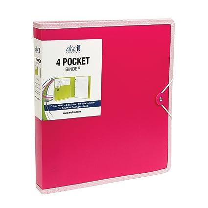 amazon com docit 4 pocket binder multi pocket folder and 1 inch 3