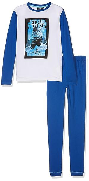 Star Wars HQ2019, Conjunto de Pijama Para Niños, Multicolor (Blue), 10