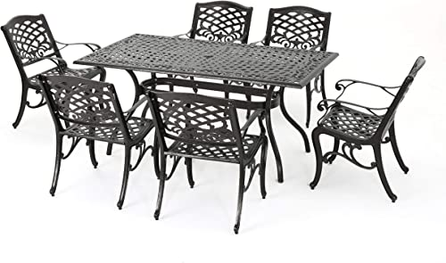 Christopher Knight Home Hallandale Outdoor Sarasota Cast Aluminum Rectangular Dining Set