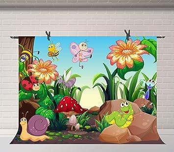Amazon Com Fuermor Cartoon Bee And Caterpillar Background 7x5ft