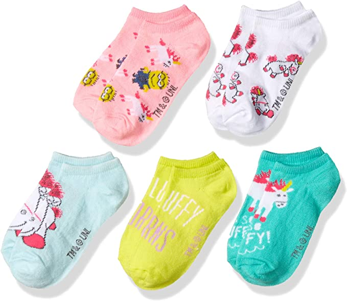 Despicable Me 2 Minions Toddler Kids No Show Blue Pink Yellow 5 Pack Socks 6-8.5