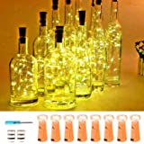 VOOKRY Wine Bottle Lights with Cork,20 LED Battery Operated Fairy String Lights Mini Copper Wire Bottle Lights for DIY, Party