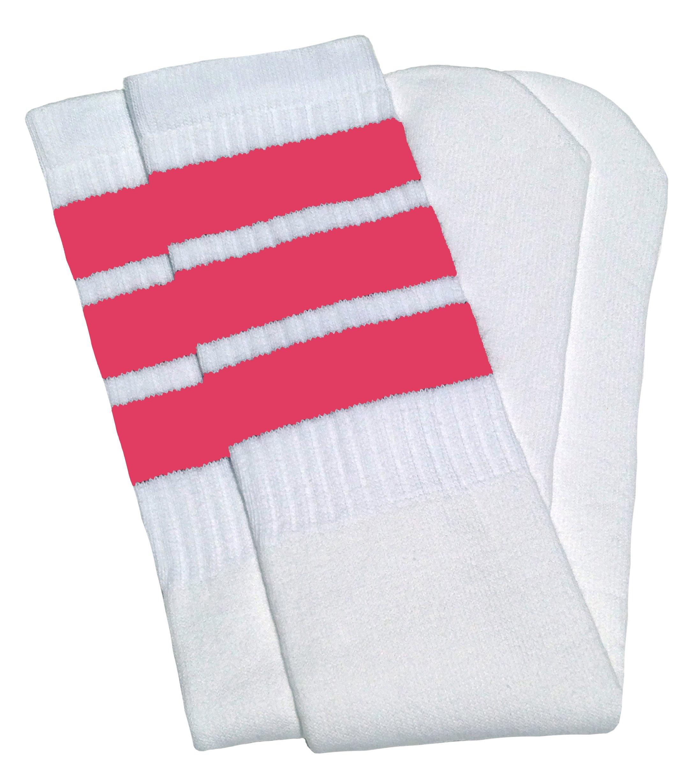 Skater Socks 30'' Over the knee White tube socks with BubbleGum Pink stripes style 1