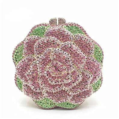 Amazon.com: mogor Blooming Rose embrague bolso lujo Flower ...