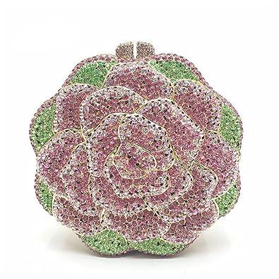 Amazon.com: mogor Blooming Rose embrague bolso lujo Flower ...