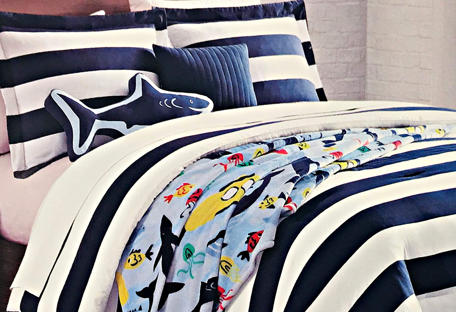 Authentic Kids Nautical 6-Pc. Full/Queen Comforter Set for Boys with 1 Shark Pillow and 1 Throw Pillow | Includes Colorful Sea Life Throw Blanket