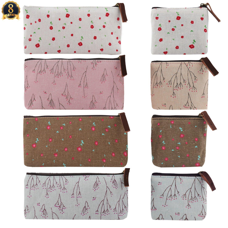 SUBANG 6 Packs Pencil Case New Style Cactus Pastoral Bandage Canvas Pencil Case Box Makeup Bag
