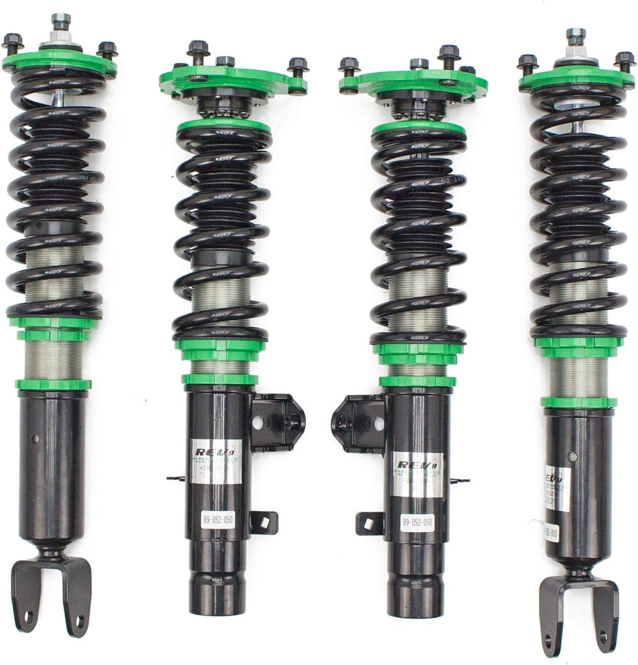 Mono-Tube Shock w// 32 Click Rebound Setting Full Length Adjustable Hyper-Street II Coilover Suspension Lowering Kit