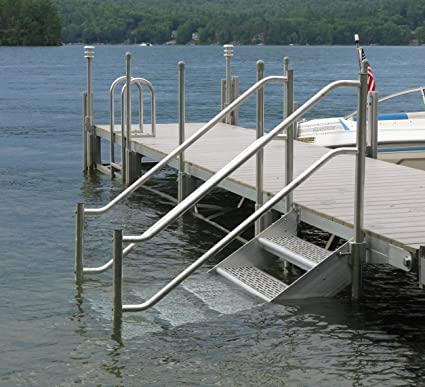 4 Step Heavy Duty Aluminum Dock Stairs With Railings