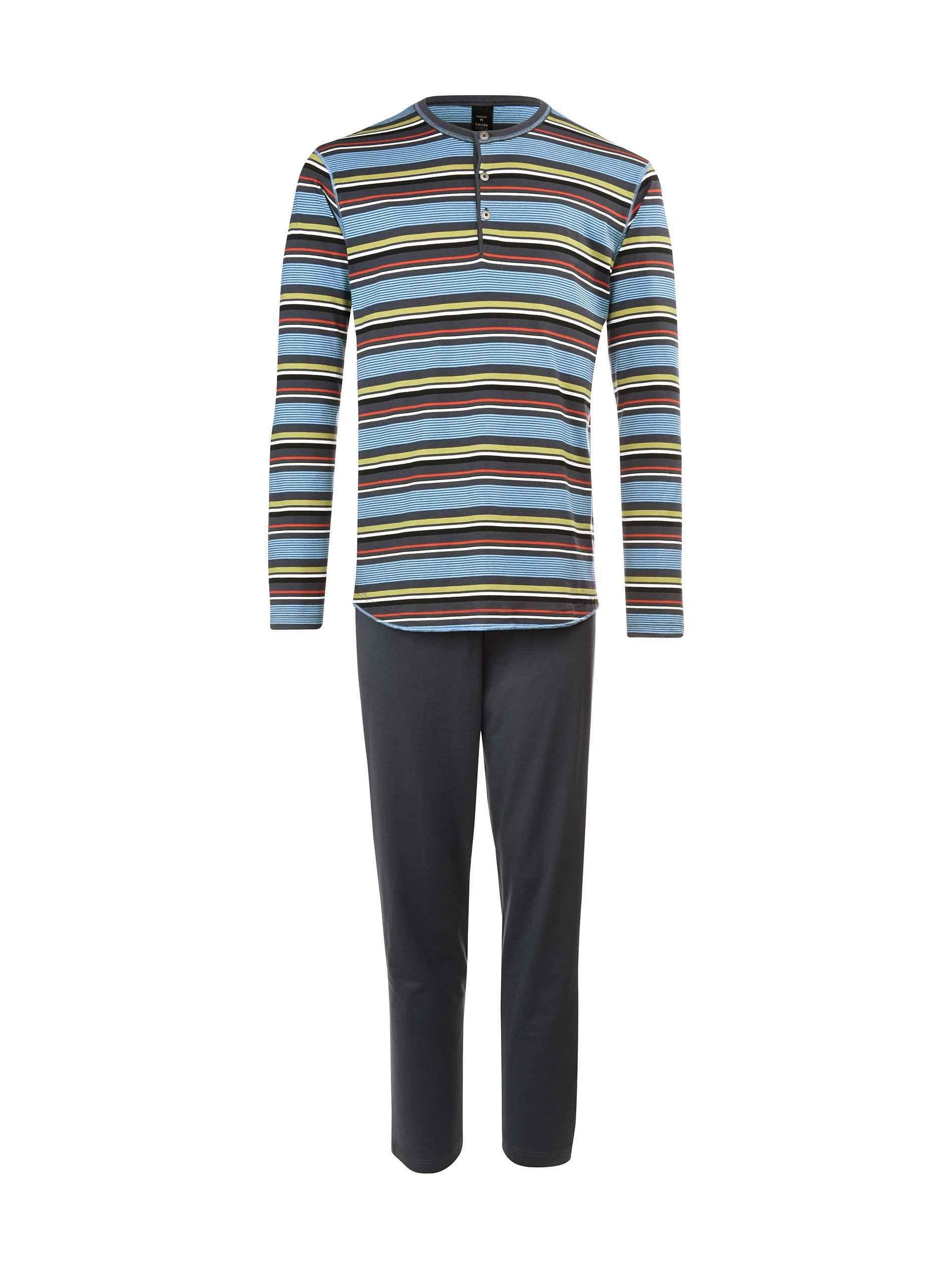 CALIDA mens 100% cotton knit Brooklyn pajamas set 47162/989 multi striped top (X-large, 989-grey)