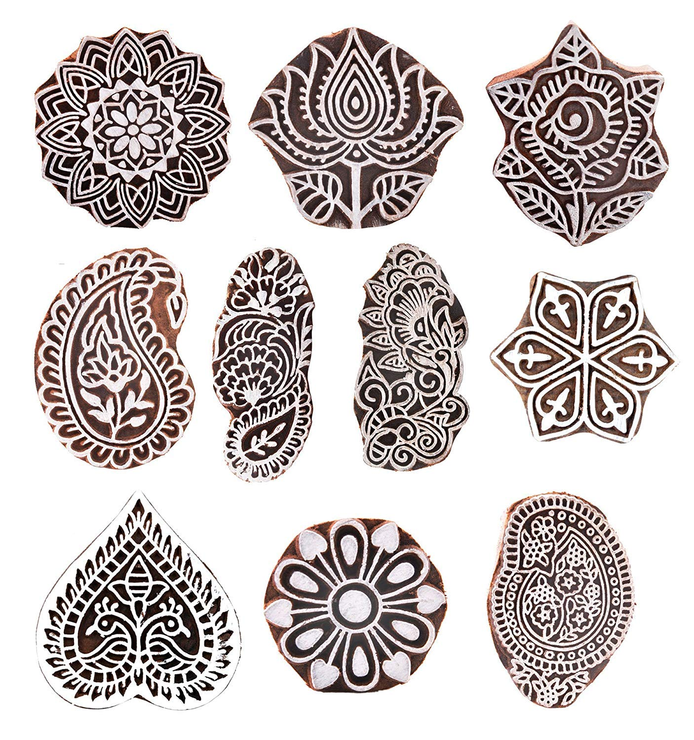 PARIJAT HANDICRAFT (Set of 10) Mughal Design Wooden Printing Stamp Block Hand-Carved for Saree Border Making Pottery Crafts Textile Printing