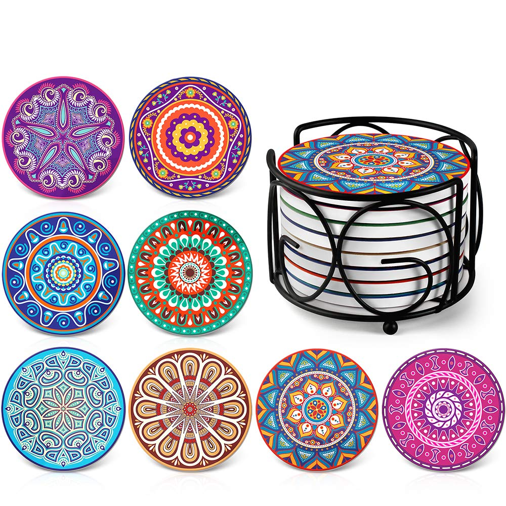 Absorbing Stone Mandala Coasters for Drinks by Teivio - Cork Base, with Holder, Unique Present for Friends, Men, Women, Funny Birthday Housewarming Gifts, Apartment Kitchen Room Bar Decor, Set of 8 by Teivio