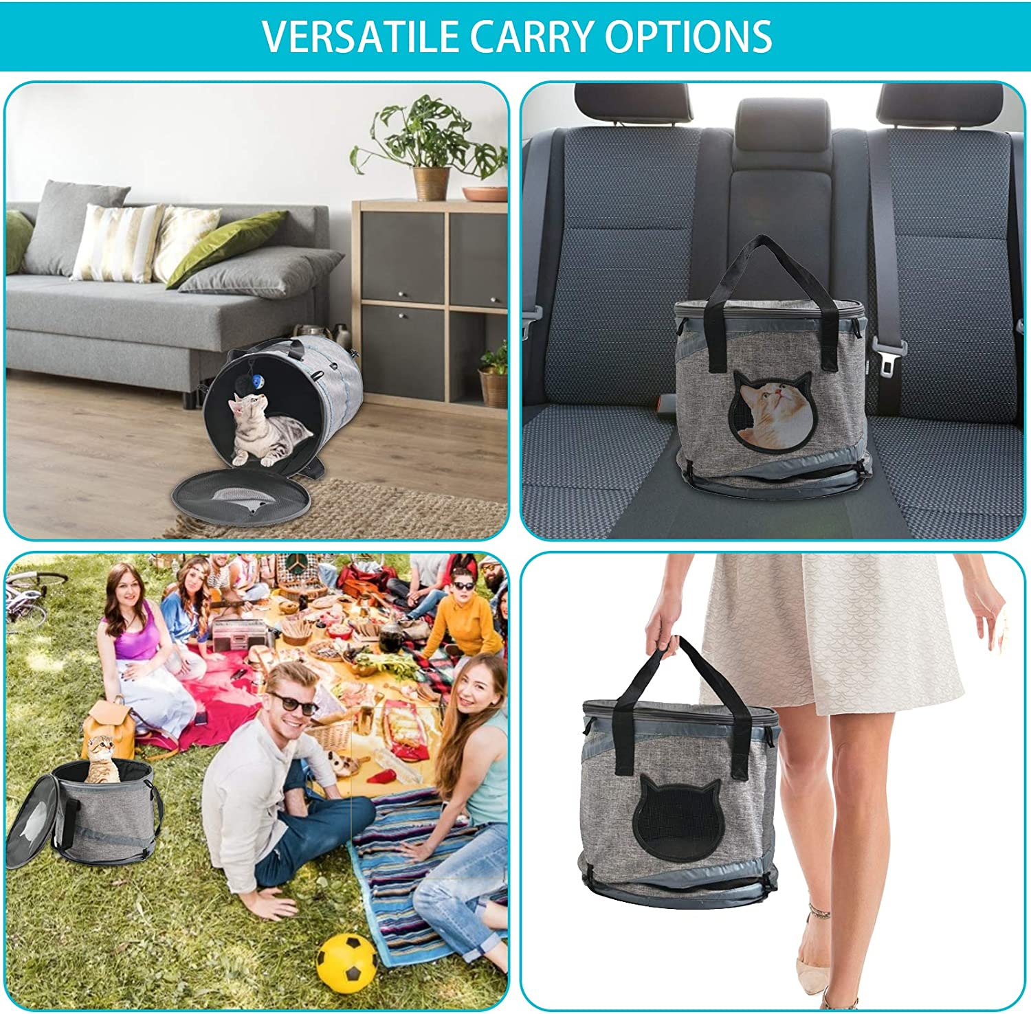 Multifunctional Kitten Bag for Indoor Cats Miamaomi 3 in 1 Cat Bag Carrier Backpack Travel Carrier for Cat and Puppy Easy Carry on Luggage with Fleece Mat Cat Tunnel Bed Pet Bag