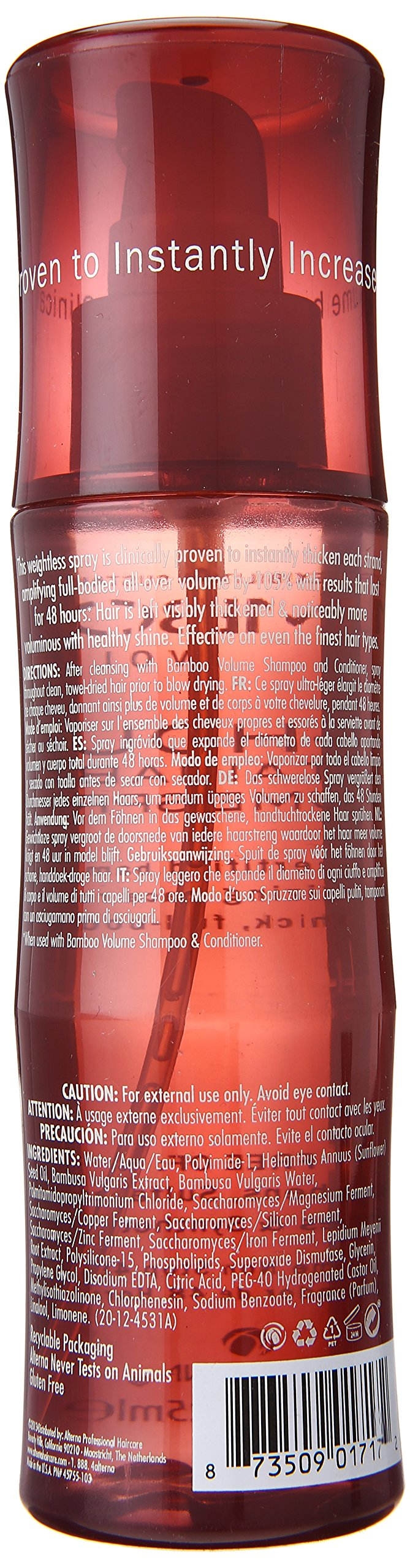 Bamboo Volume 48-Hour Sustainable Volume Spray, Blow Dry Spray, 4.2-Ounce by ALTERNA