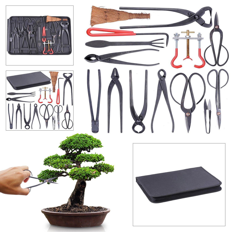 Koval Inc. 14-pcs Bonsai Tool Kit Garden Tool Set with Bag (14 Piece Black)