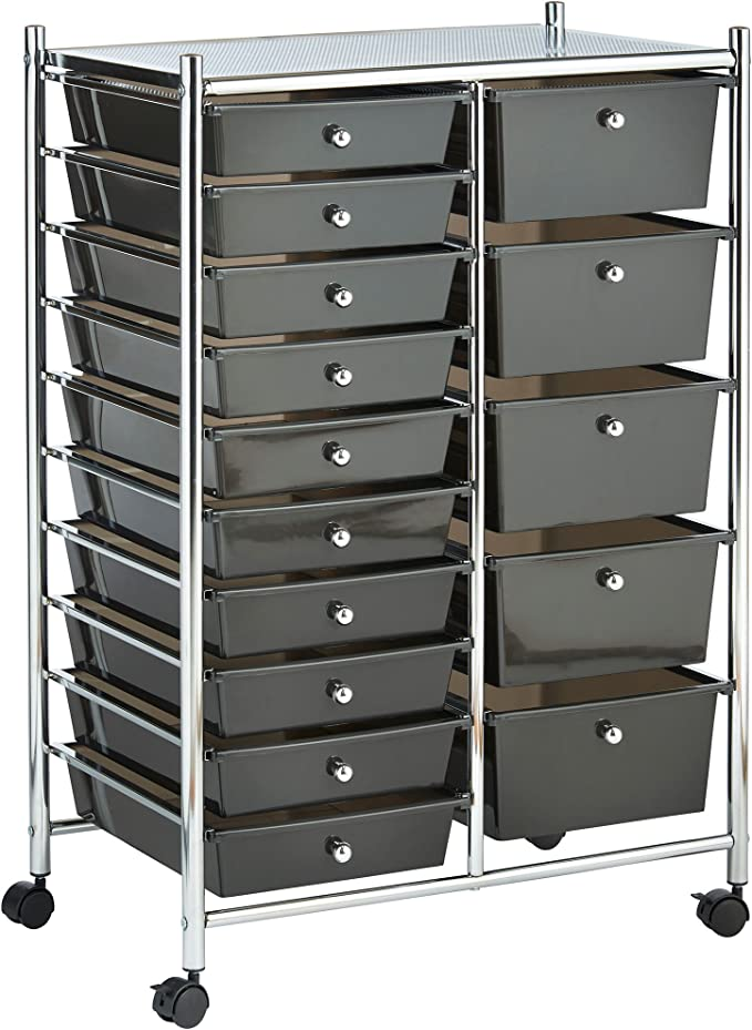 Vonhaus 15 Drawer Plastic Storage Trolley With Wheels Multipurpose Rolling Cart Drawers Unit For Home Office Stationery Organisation Crafts Salon Make Up Hairdressing Beauty Mobile Design With 10 Tier Shelving Black