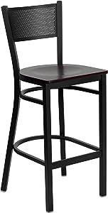 Flash Furniture HERCULES Series Black Grid Back Metal Restaurant Barstool - Mahogany Wood Seat