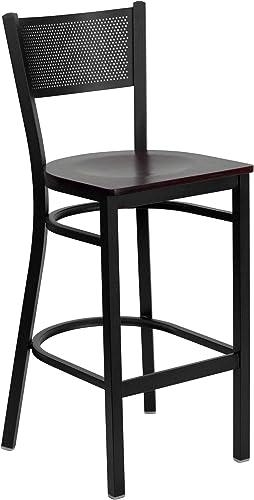 Flash Furniture HERCULES Series Black Grid Back Metal Restaurant Barstool – Mahogany Wood Seat