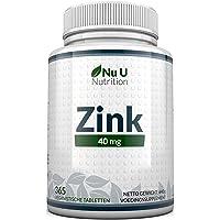Zink 40 mg - 365 Zinktabletten niet Capsules (12 Manden Voorraad) - Zinkgluconaat met Hoge Sterkte Biedt 40 mg…