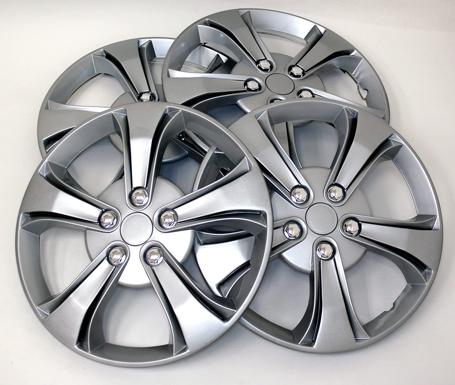 TuningPros WSC-616S17 Hubcaps Wheel Skin Cover 17-Inches Silver Set of 4