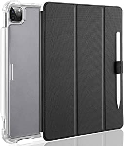 """Valkit iPad Pro 12.9 Case 2020 4th Generation & 2018 3rd Gen, [Support Apple Pencil 2 Charging] Translucent Frosted Smart Folio Stand Cover for iPad Pro 12.9"""" 4th Gen 2020 / 3rd Gen 2018, Black"""